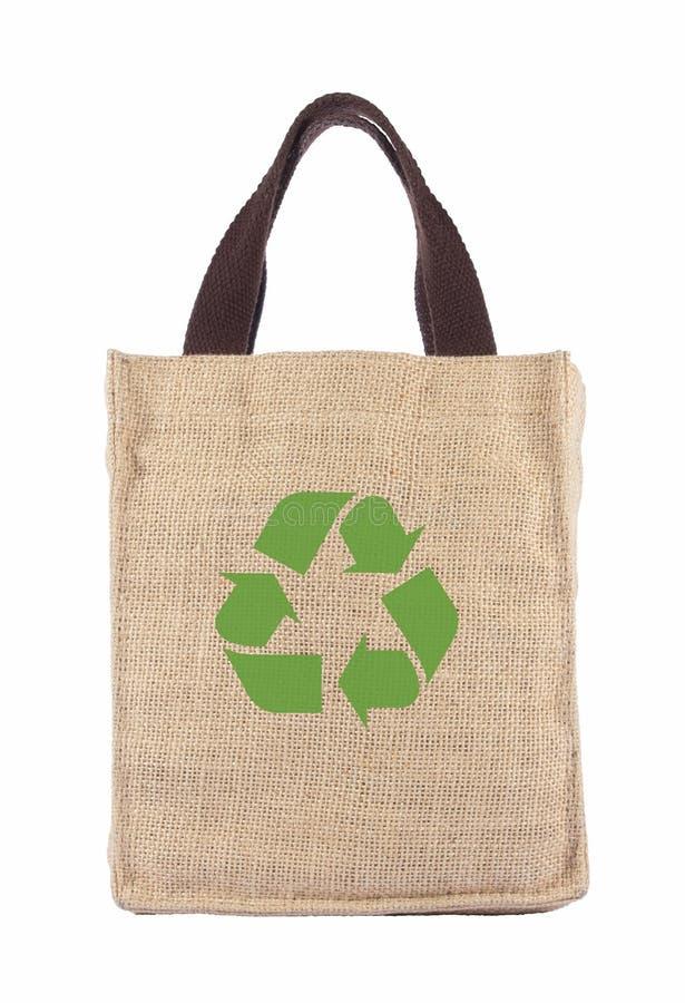 Un bolso de compras de la ecología del reciclaje foto de archivo
