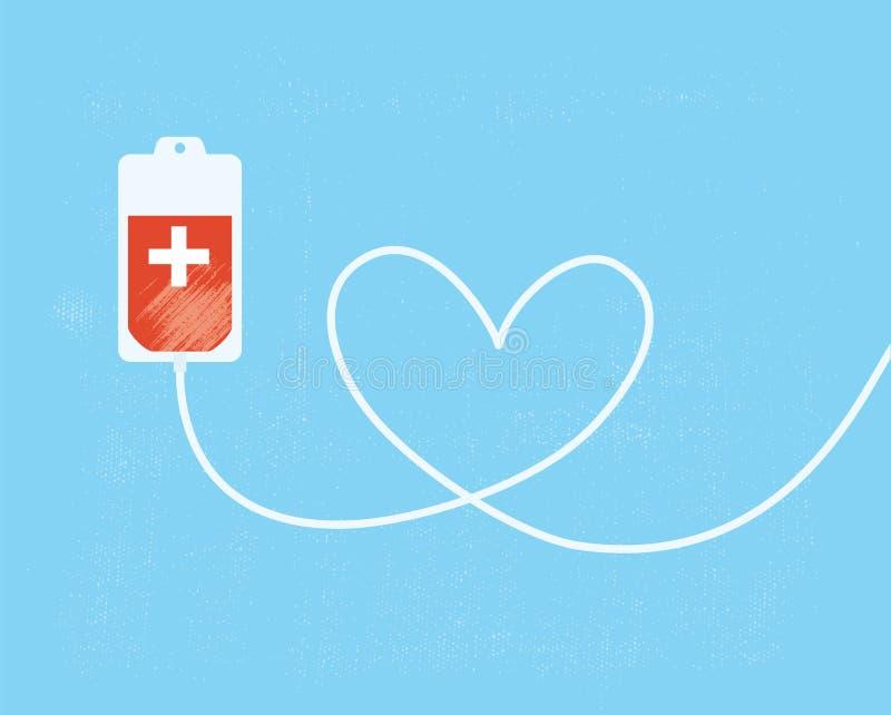 Un bolso de la donación de sangre con el tubo formado como corazón stock de ilustración
