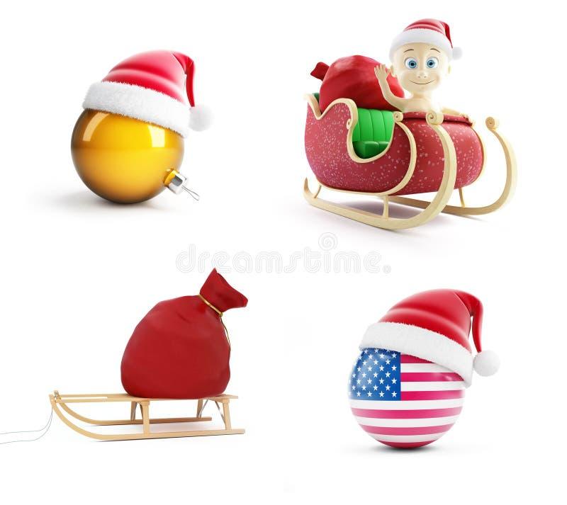 Un bolso de santa, niño en un trineo de Papá Noel, sombrero en un ejemplo blanco del fondo 3D, del ` s de Papá Noel representació stock de ilustración
