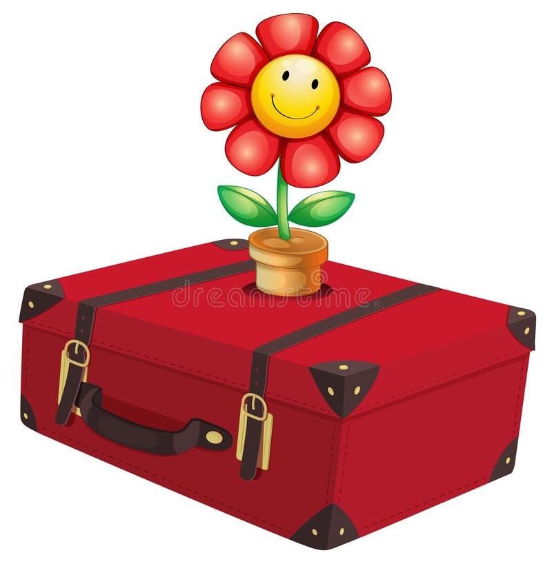 Un bolso que viaja rojo con una planta stock de ilustración
