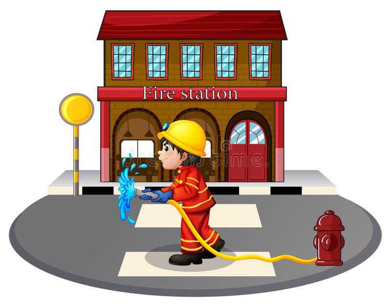 Un bombero que sostiene una manguera de bomberos cerca de una boca de riego stock de ilustración