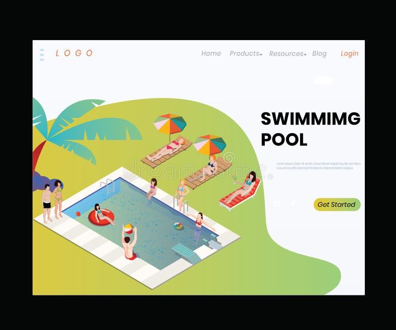 Un bon concept isom?trique d'illustration de piscine de station de vacances image libre de droits