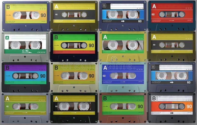 Un bon nombre cassettes sonores de rétros et de cru ou de bandes audio dans différents labels colorés photo stock