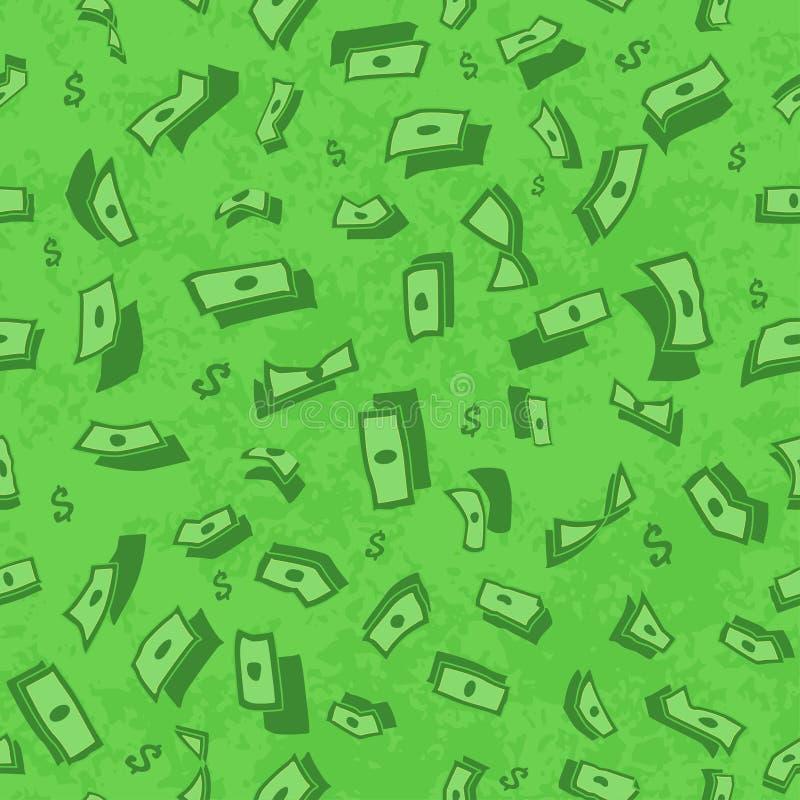 Un bon nombre d'argent de vol Wallpaper les dollars, fond vert d'argent en baisse, modèle de pluie, texture sans couture illustration libre de droits
