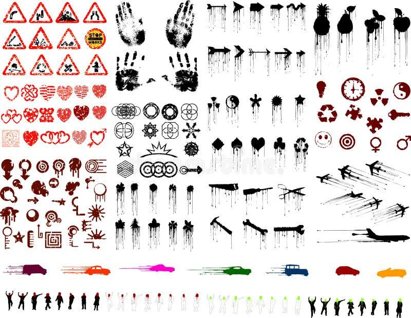 Un bon nombre d'images grunges (vecteurs illustration libre de droits