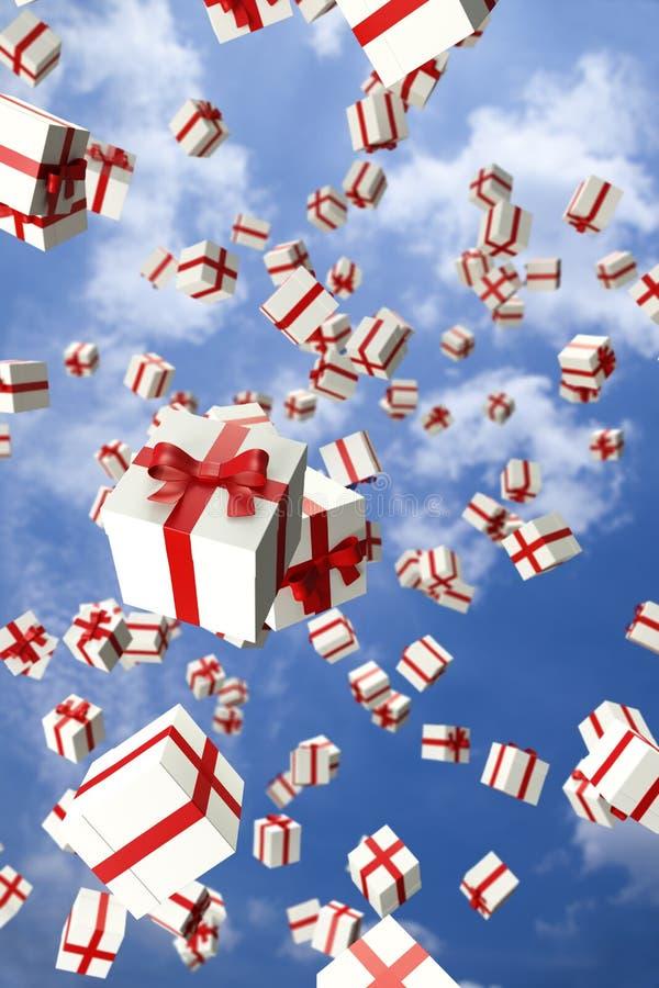 Un bon nombre de cadres de cadeau blancs volant dans le ciel illustration de vecteur