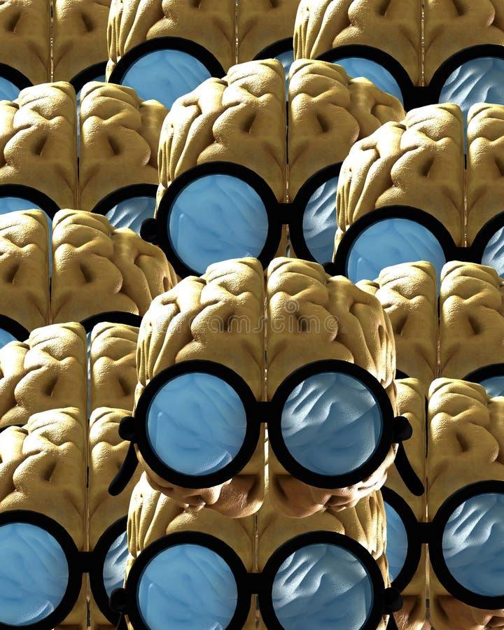 Un bon nombre de cerveaux intelligents illustration stock