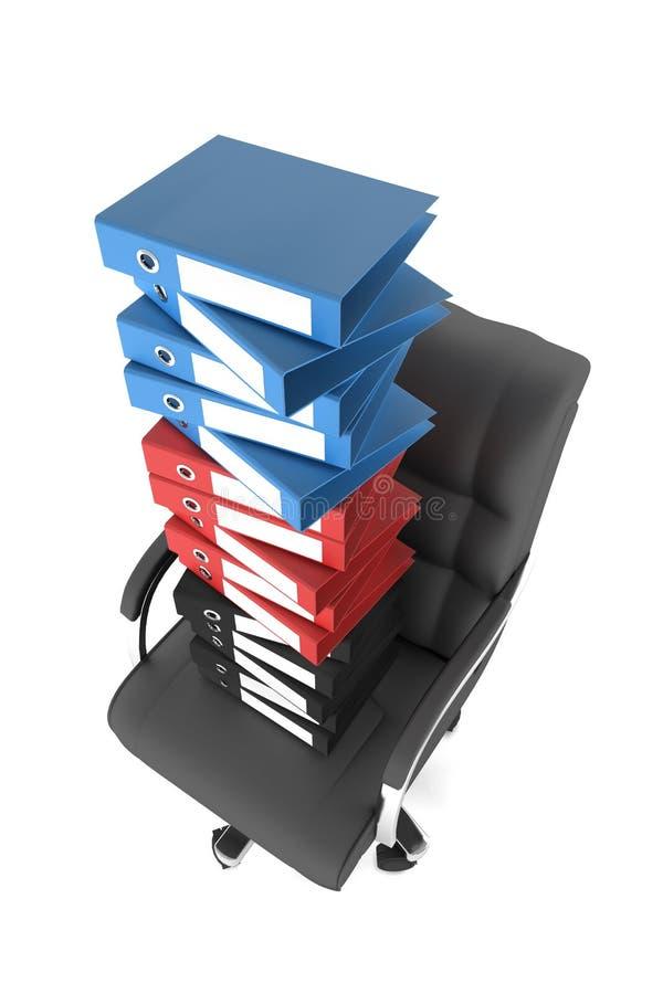 Un bon nombre de dépliants de fichier sur une présidence de bureau illustration de vecteur