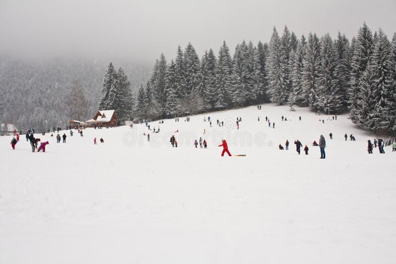Un bon nombre de gens ayant l'amusement dans la neige image stock