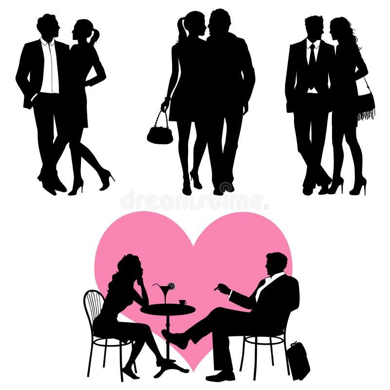 Un bon nombre de gens - couples, positionnement de vecteur illustration de vecteur