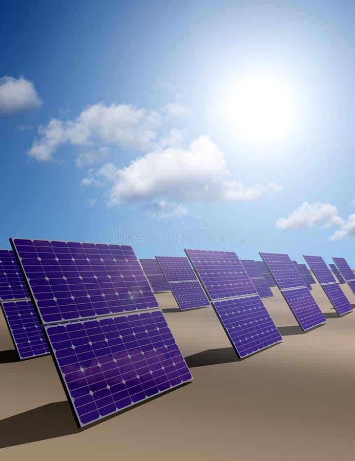 Un bon nombre de panneaux à énergie solaire dans un désert illustration de vecteur