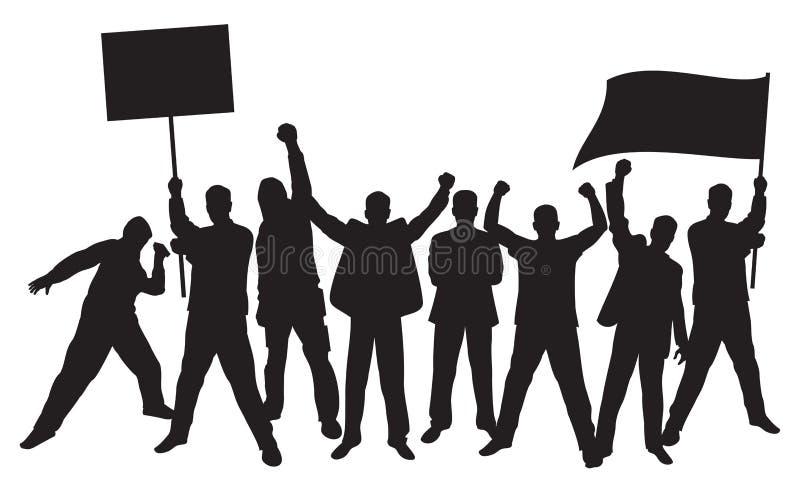 Un bon nombre de protestation furieuse de gens illustration libre de droits