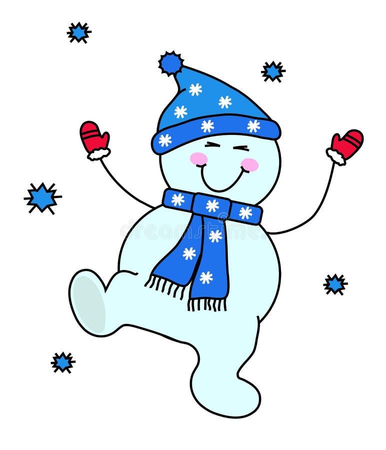 Un bonhomme de neige heureux a l'amusement Saison de l'hiver illustration de vecteur