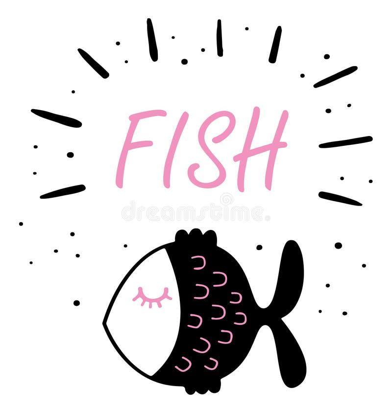 Un bonito diseño de pescado para la estampación de camiseta de una niña foto de archivo