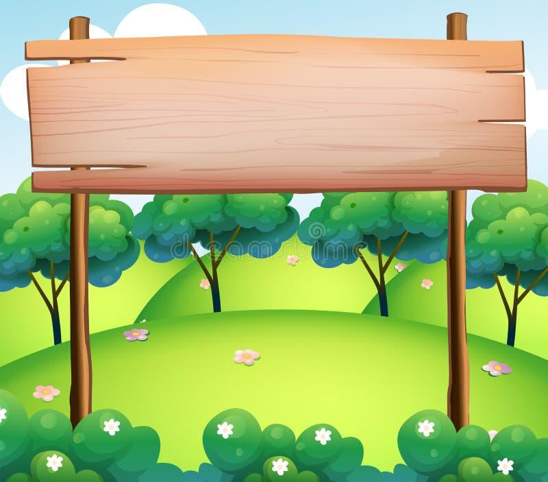 Un bordo di legno vuoto alla cima delle colline illustrazione vettoriale