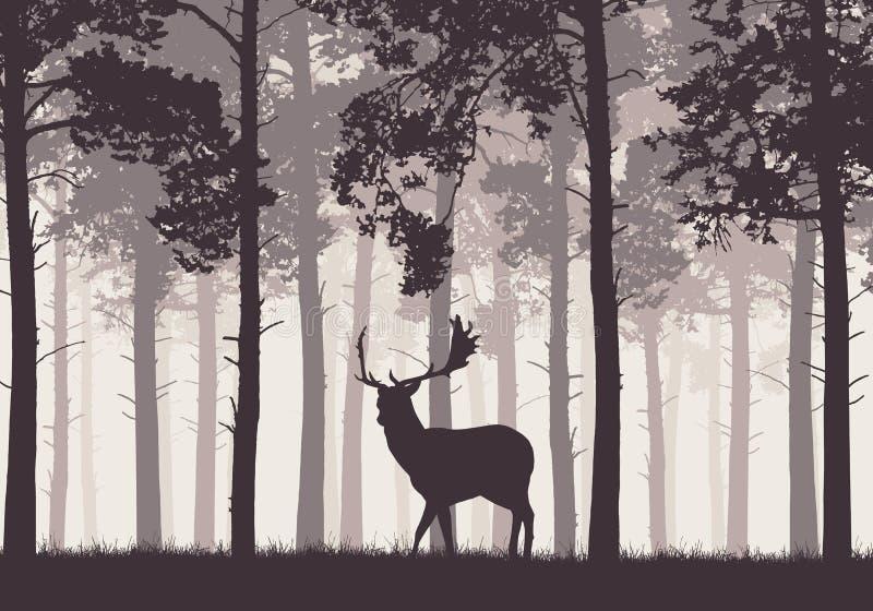 Un bosque conífero retro con una silueta de un ciervo ilustración del vector
