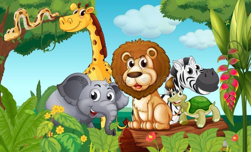 Un bosque con un grupo de animales ilustración del vector