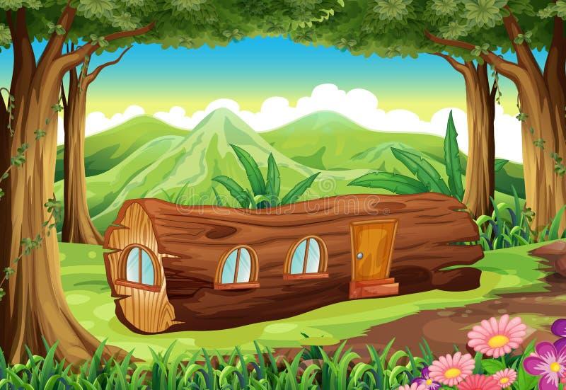 Un bosque con una cabaña de madera libre illustration