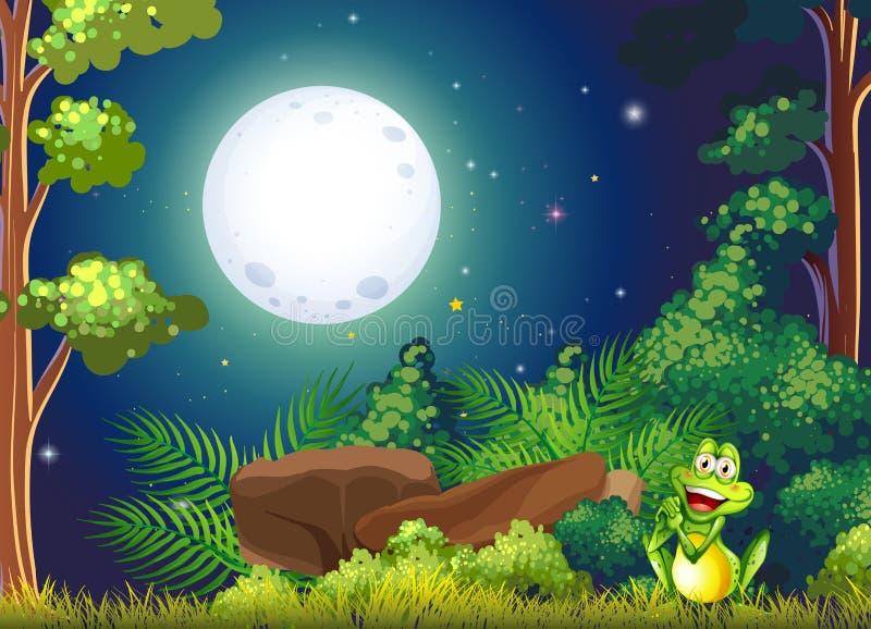 Un bosque con una rana sonriente cerca de la roca ilustración del vector