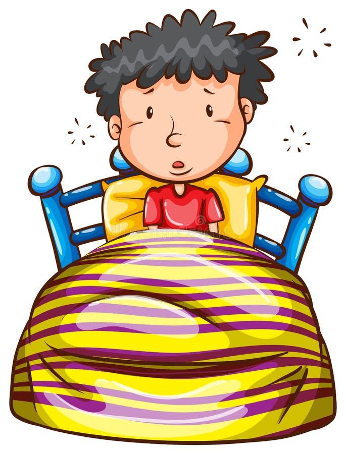 Un bosquejo coloreado de un muchacho que despierta temprano ilustración del vector