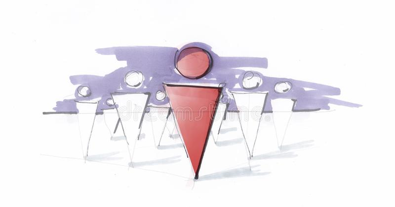Un bosquejo de un grupo de personas que sigue a su líder el concepto de dirección social o del negocio las ideas emocionantes for imagen de archivo libre de regalías