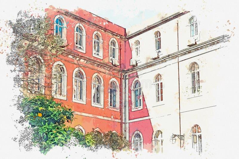 Un bosquejo de la acuarela o un ejemplo Configuración europea tradicional La esquina de un edificio típico en Lisboa stock de ilustración