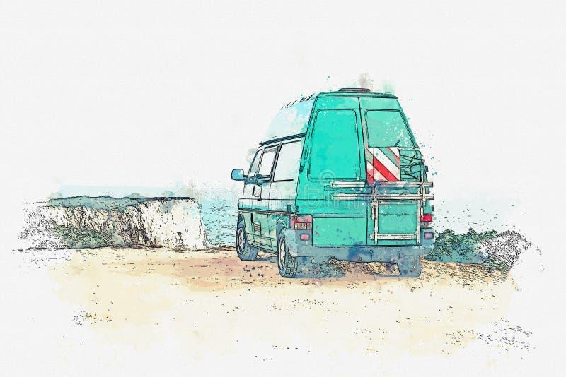 Un bosquejo de la acuarela o un ejemplo El parquear en la orilla del océano o del mar Recorrido en coche ilustración del vector