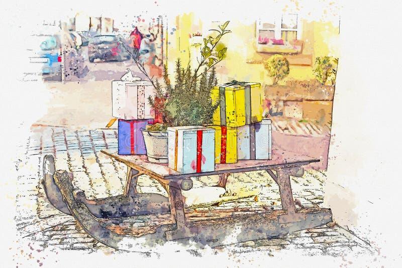 Un bosquejo de la acuarela o un ejemplo de las decoraciones de la Navidad de la calle ilustración del vector