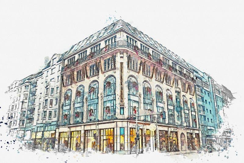 Un bosquejo de la acuarela o un ejemplo La Navidad y regalos por Año Nuevo y guirnalda en el edificio stock de ilustración