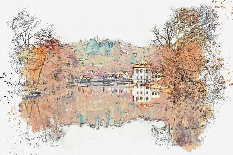 Un bosquejo de la acuarela o un ejemplo de una calle con las casas y los árboles en otoño en Cesky Krumlov en el Checo stock de ilustración