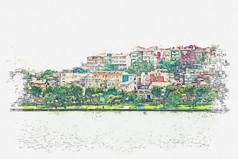 Un bosquejo de la acuarela o un ejemplo de una hermosa vista de la arquitectura tradicional en Estambul stock de ilustración