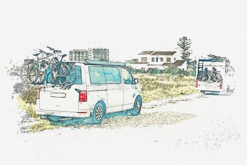 Un bosquejo de la acuarela o un ejemplo Viaje por carretera o el viajar en coche libre illustration