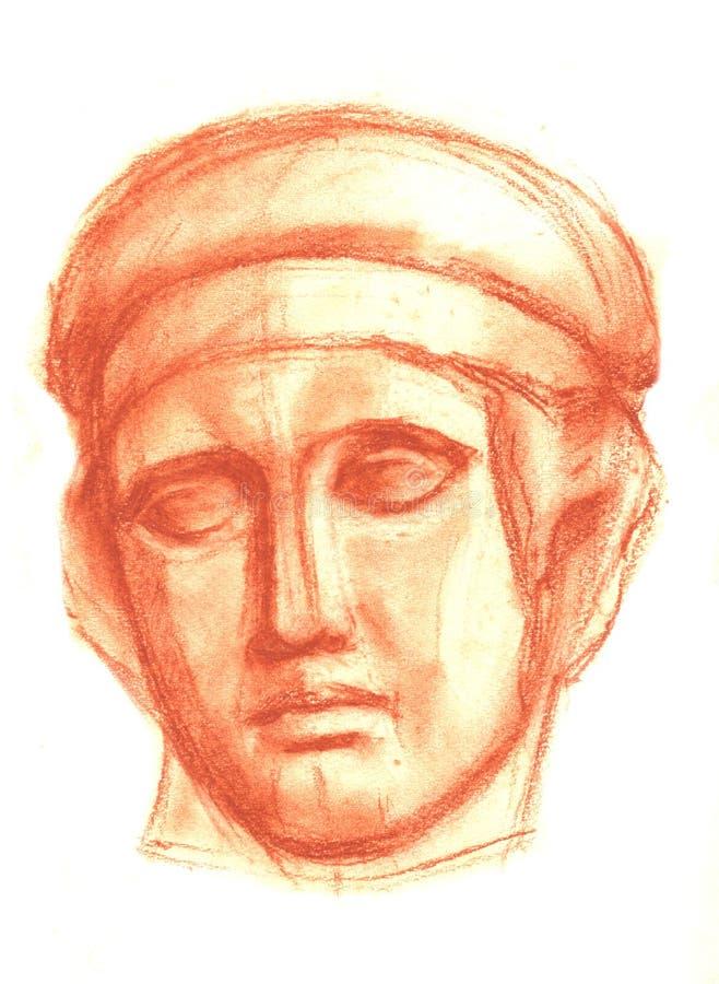 Un bosquejo de la cabeza del yeso de Diana en un lápiz Dibujo académico libre illustration