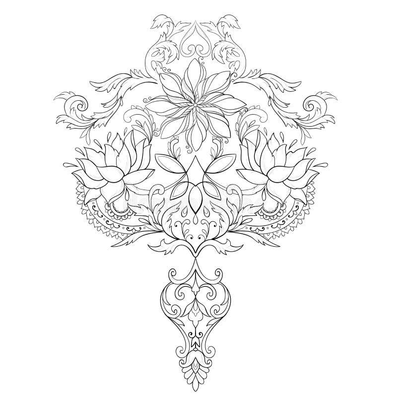 Un bosquejo de lotos hermosos en un ornamento agraciado en un fondo blanco imagen de archivo libre de regalías