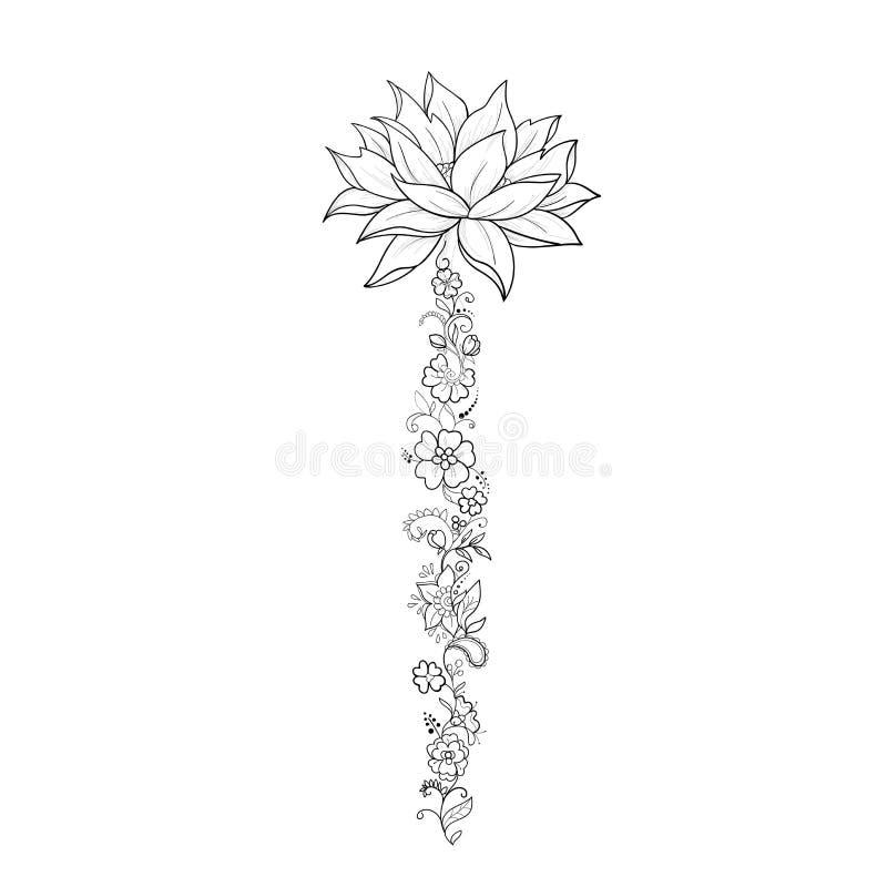 Un bosquejo de lotos hermosos en un ornamento agraciado en un fondo blanco fotos de archivo libres de regalías