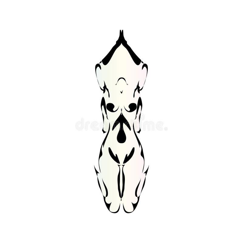 Un bosquejo de rogación de la mujer desnuda plana de la historieta ilustración del vector