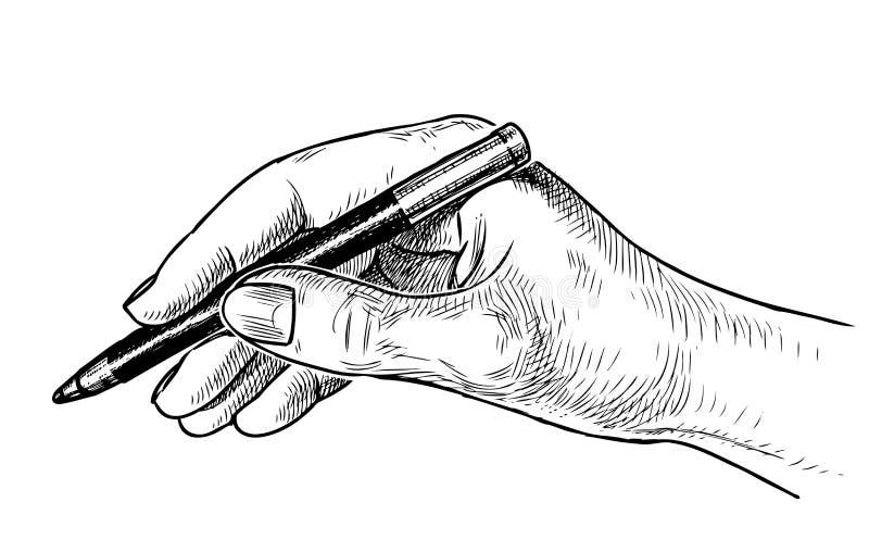 Un bosquejo de una mano humana que sostiene un lápiz ilustración del vector