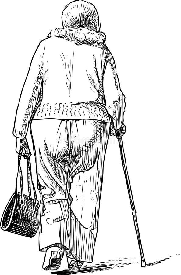 Un bosquejo de una mujer mayor que va en un paseo stock de ilustración