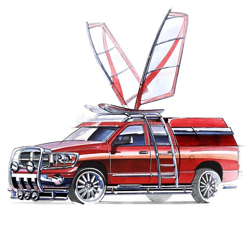 Un bosquejo de una recogida escarpada de SUV para las actividades al aire libre fotos de archivo libres de regalías