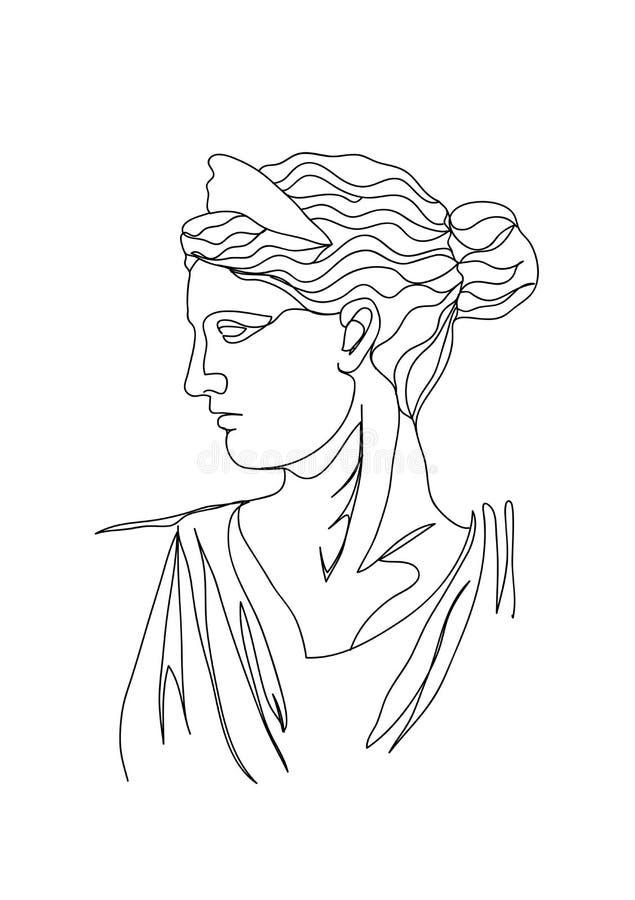 Un bosquejo del dibujo lineal Ejemplo del vector de la escultura Sola l?nea arte moderna, contorno est?tico ilustración del vector