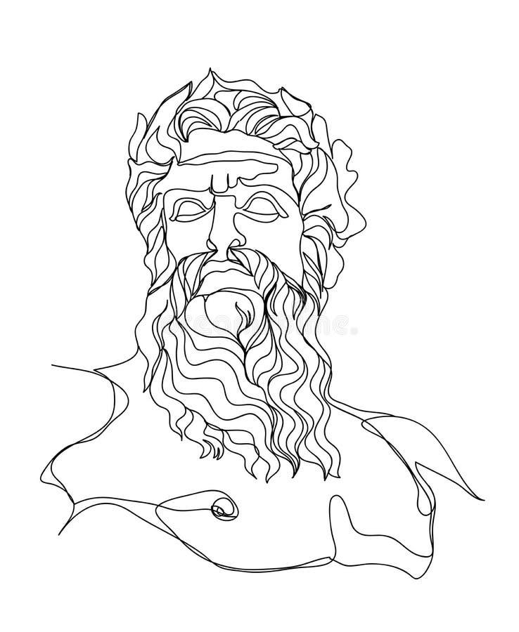 Un bosquejo del dibujo lineal Escultura de Zeus Sola l?nea arte moderna, contorno est?tico Perfeccione para la decoración casera  ilustración del vector