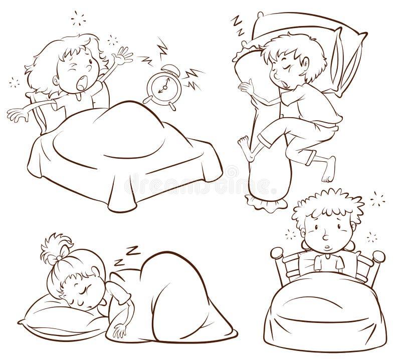 Un bosquejo llano de los niños que duermen y que despiertan temprano stock de ilustración