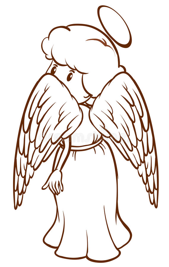 Un bosquejo llano de un ángel stock de ilustración
