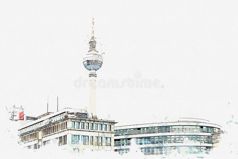 Un bosquejo o un ejemplo de la acuarela Arquitectura de Berlín La torre de la televisión en el cuadrado nombró Alexanderplatz libre illustration