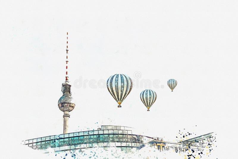 Un bosquejo o un ejemplo de la acuarela Arquitectura de Berlín La torre de la televisión en el cuadrado nombró Alexanderplatz stock de ilustración
