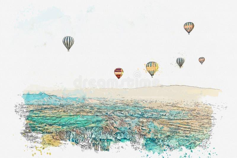 Un bosquejo o un ejemplo de la acuarela La atracción turística famosa de Cappadocia es una aérea Turquía ilustración del vector