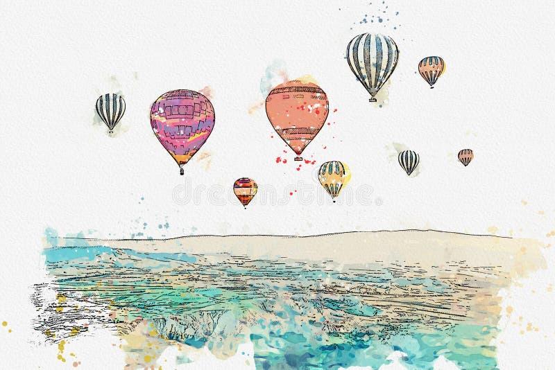 Un bosquejo o un ejemplo de la acuarela La atracción turística famosa de Cappadocia es una aérea Turquía stock de ilustración