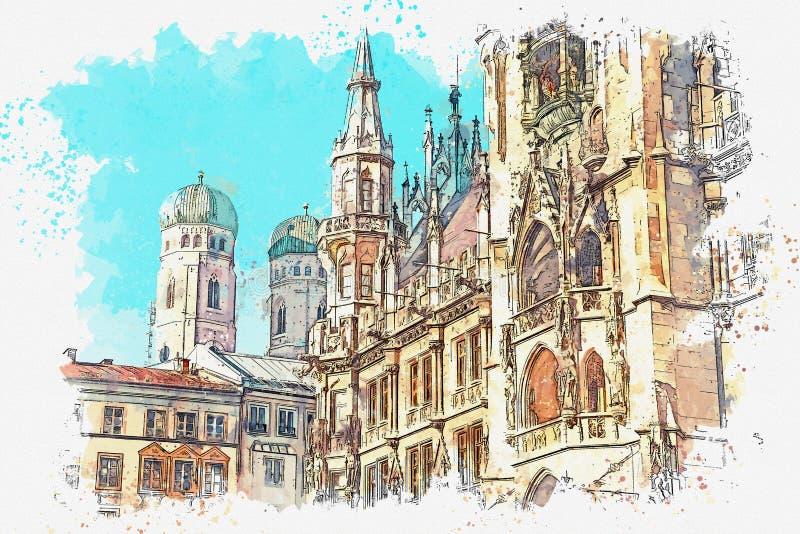 Un bosquejo o un ejemplo de la acuarela Ciudad Hall Marienplatz en el cuadrado central de Munich stock de ilustración