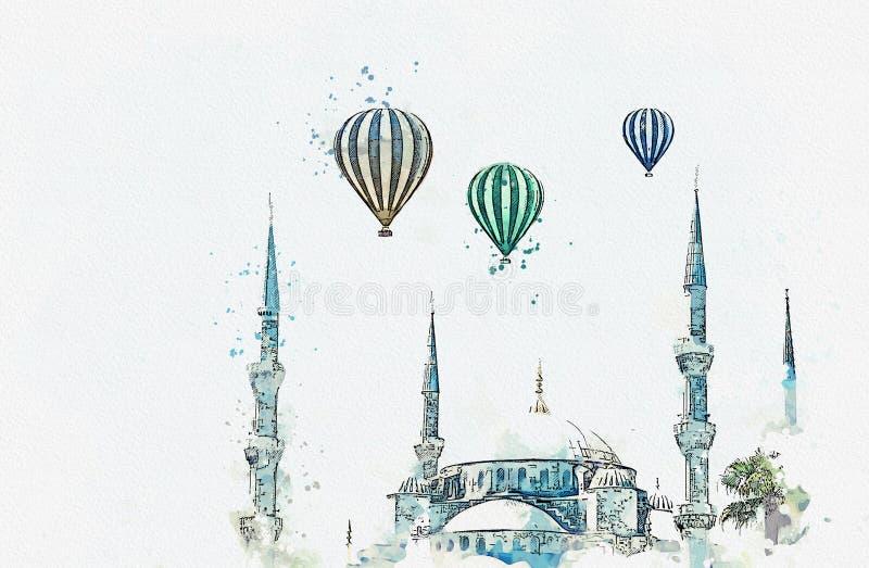 Un bosquejo o un ejemplo de la acuarela La mezquita azul famosa en Estambul también se llama Sultanahmet Turquía ilustración del vector