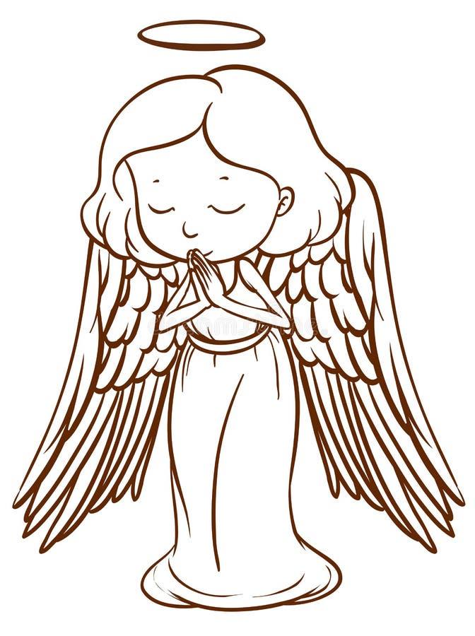 Un bosquejo simple de un ángel que ruega ilustración del vector